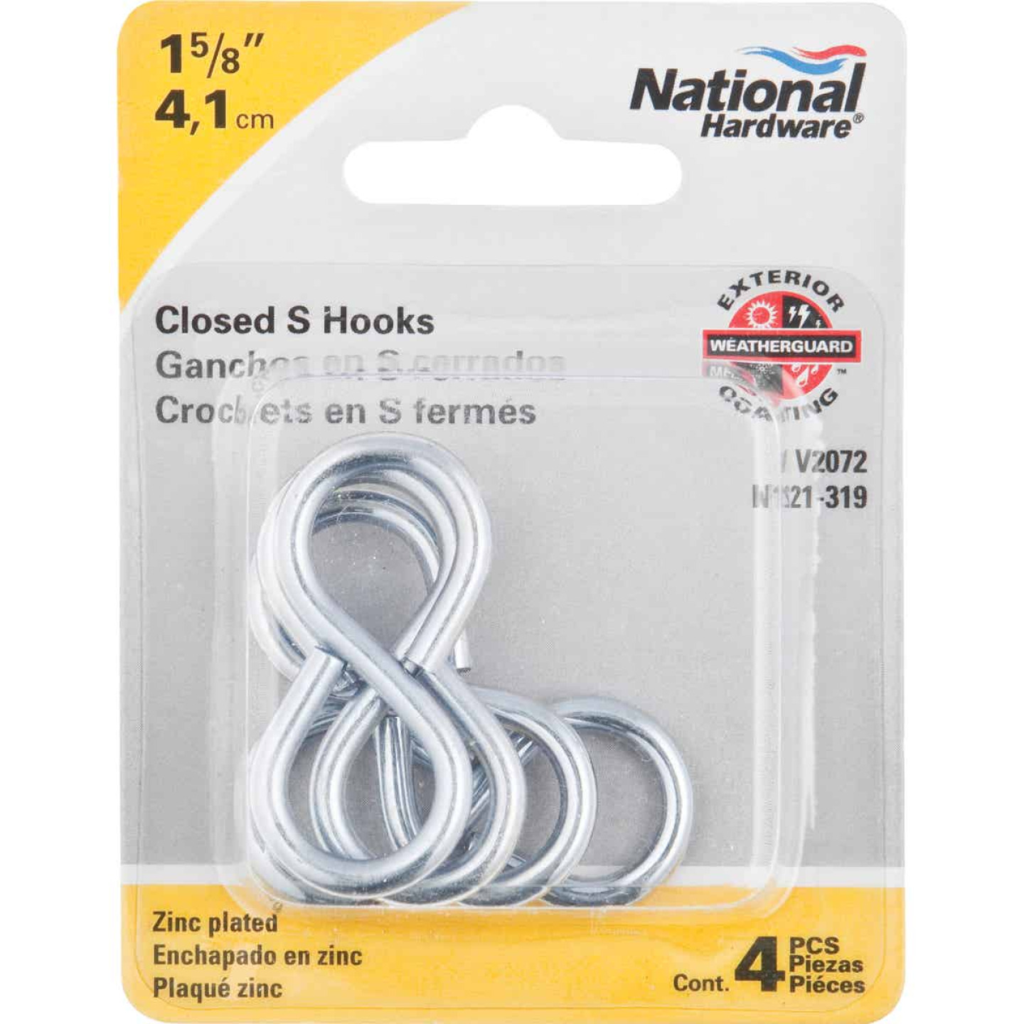 National 1-5/8 In. Zinc Light Closed S Hook (4 Ct.) Image 2