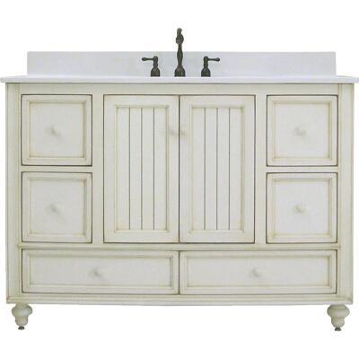 Sunny Wood Bristol Beach White 48 In. W x 34 In. H x 21 In. D Vanity Base, 2 Door/6 Drawer