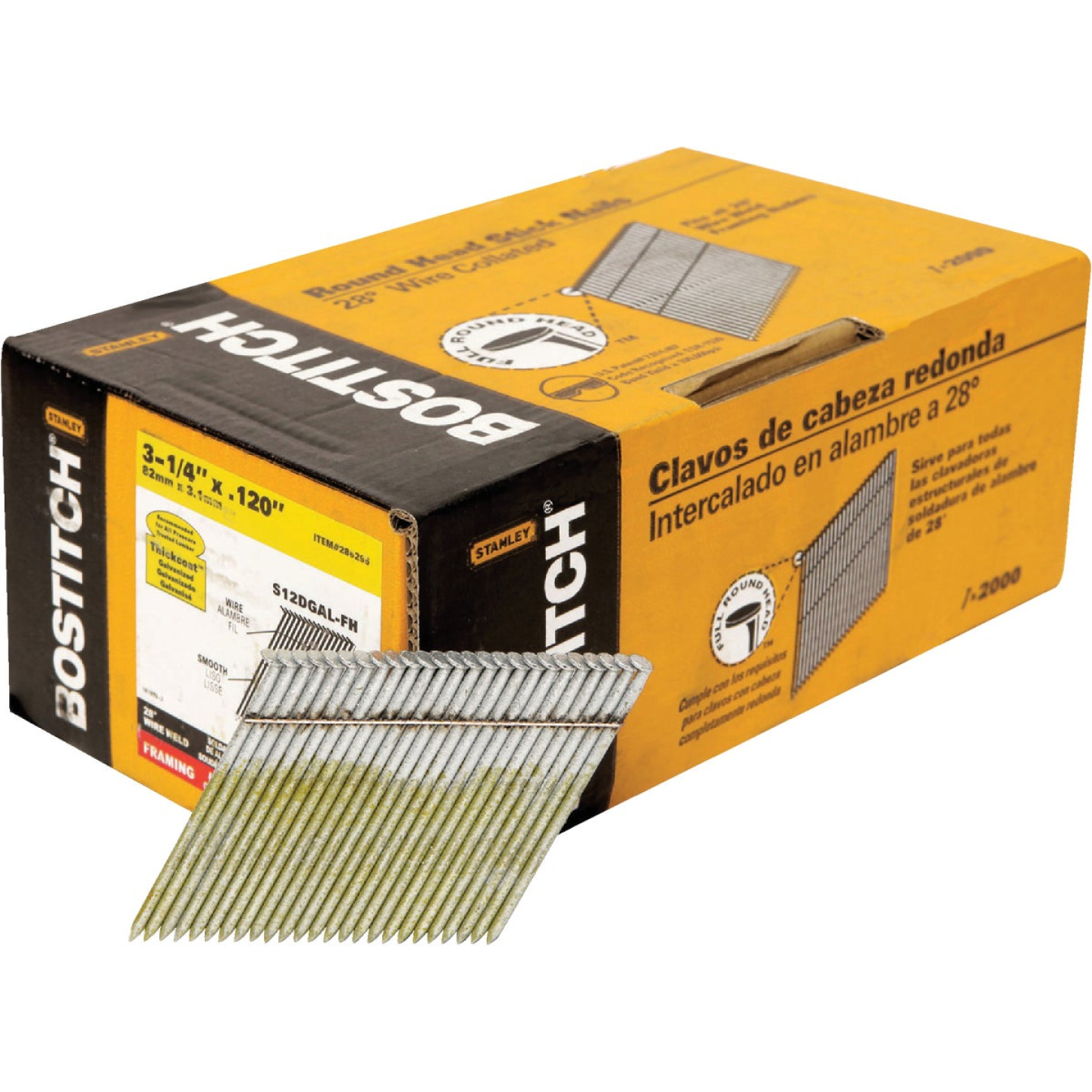 Bostitch 28 Degree Wire Weld Galvanized Offset Round Head Framing Stick Nail, 3-1/4 In. x .120 In. (2000 Ct.) Image 1