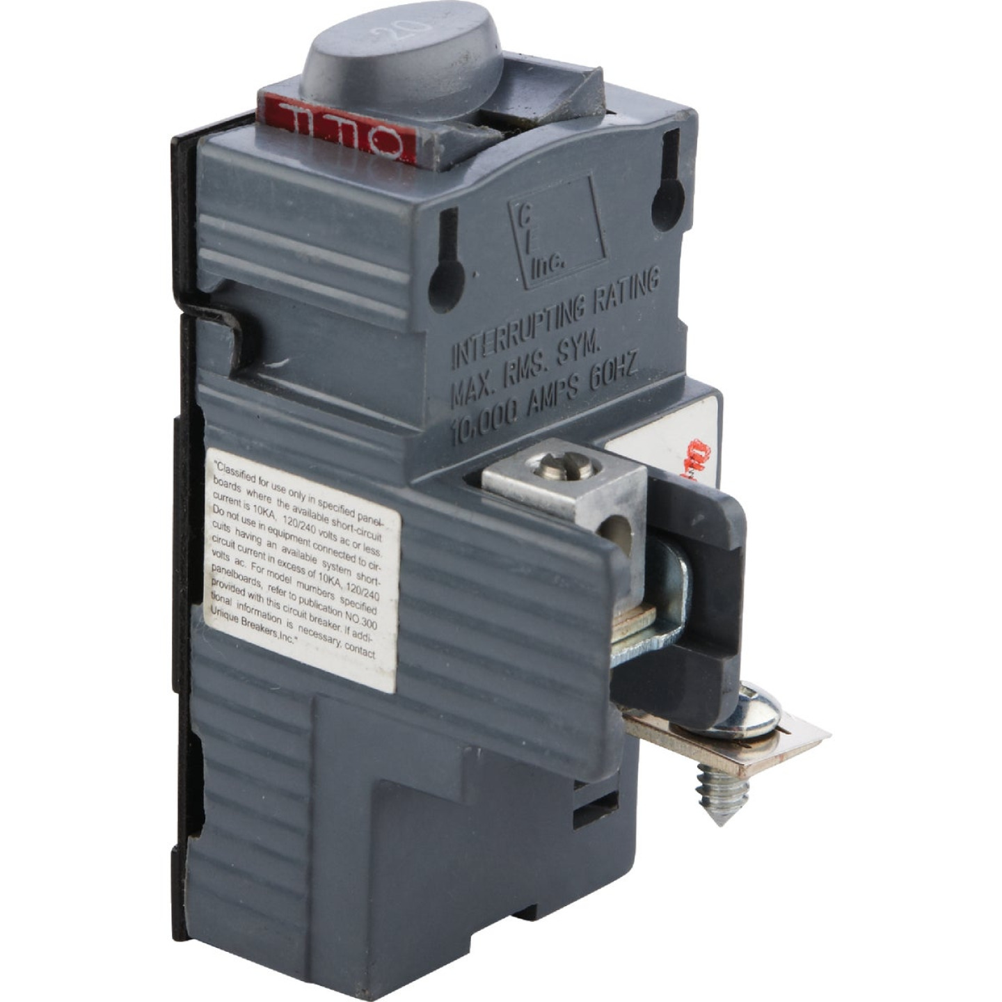 Connecticut Electric 20A Single-Pole Standard Trip Packaged Replacement Circuit Breaker For Pushmatic Image 1