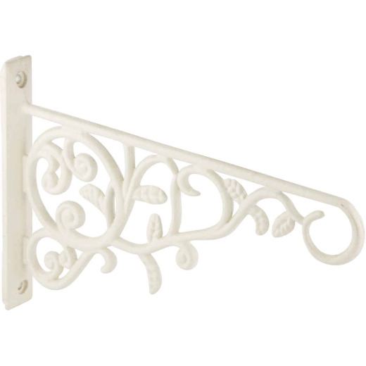 Panacea 9 In. White Vine & Leaf Cast Aluminum Decorative Hanging Plant Bracket