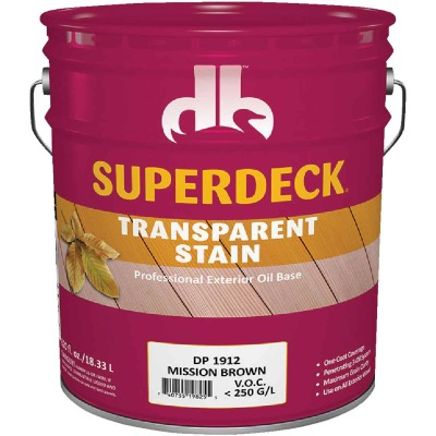 Duckback SUPERDECK VOC Transparent Exterior Stain, Mission Brown, 5 Gal.