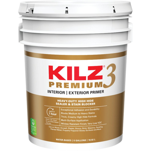 KILZ 3 Premium Water-Base Interior/Exterior Sealer Stain Blocking Primer, White, 5 Gal.