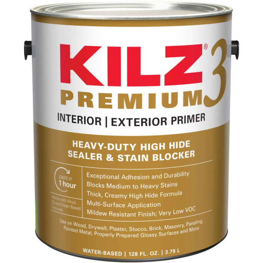 KILZ 3 Premium Water-Base Interior/Exterior Sealer Stain Blocking Primer, White, 1 Gal.